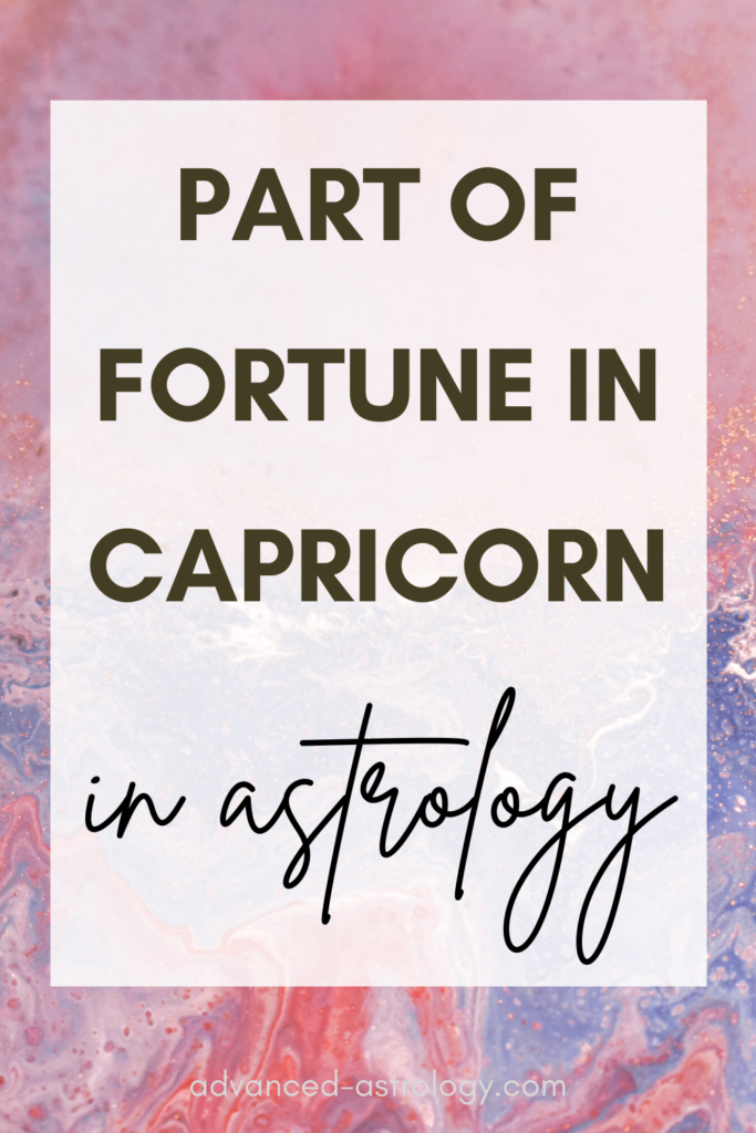 Part of Fortune in Capricorn