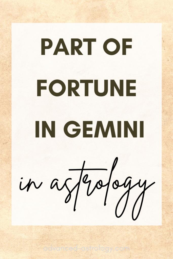 part of fortune in Gemini