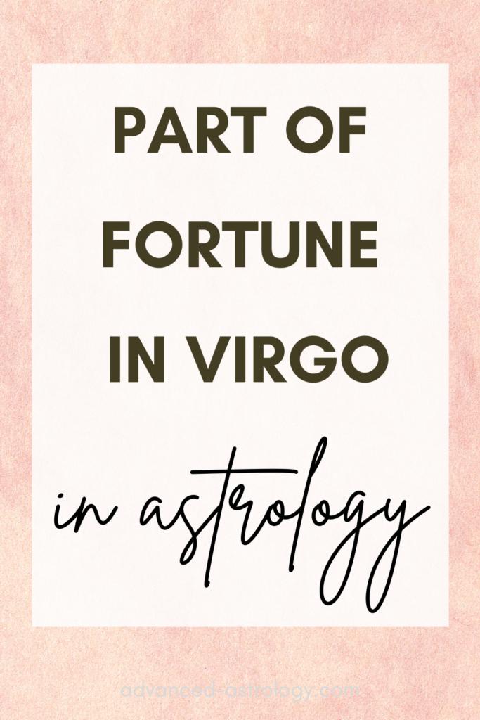 part of fortune in Virgo